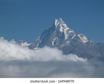 Machapuchare, famous mountain near Pokhara, Nepal