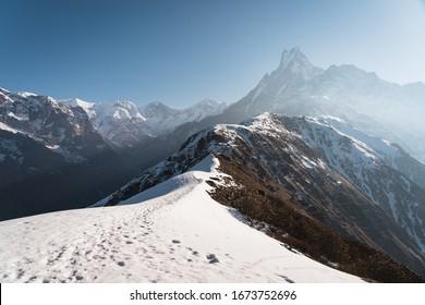 Machapuchare of fish tail peak view from Mardi Himal trekking route, Himalaya mountain range in Pokhara, Nepal, Asia