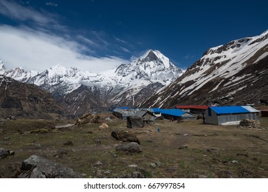 Machapuchare / Fishtail mount (6993m) in Annapurna base camp in Nepal Himalaya
