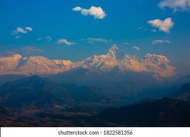 Machapuchare or fishtail mountain in annapurna-range of the Himalaya in Nepal.
