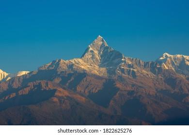 Machapuchare or fishtail mountain in annapurna-range of the Himalaya in Nepal