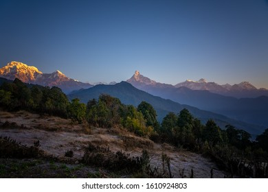 Machapuchare, Mardi Himal view at early morning. A mountain range in the Annapurna Himalayas of north central Nepal. View point from Pothana