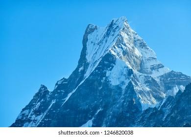 Machapuchare mountain Fishtail in Himalayas range Nepal