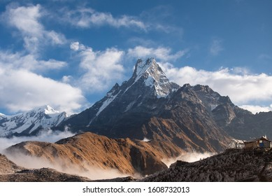Machapuchare mountain ( Fishtail Mount) , Scenic viewpoint of Machapuchare mountain from upper viewpoint 4200 m. in Mardi Himal treking route in Annapurna Himalayas area near Pokhara ,Nepal