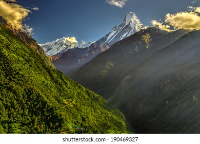 Machapuchare mountain and Modi Khola valley in Himalayas, Nepal