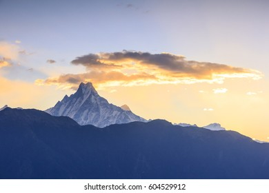 Machapuchare mountain range (fish tail) with sunrise view from Poonhill, famous trekking destination in Nepal.