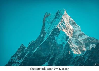 Machapuchare snowcapped peak in the Himalaya mountains, Nepal