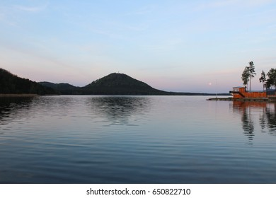 Machas lake in the evening. Czech landscape