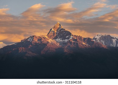 Machhapuchhre in the sunset ,Nepel