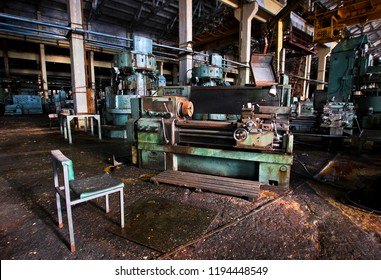 Machine at an abandoned machine-building factory