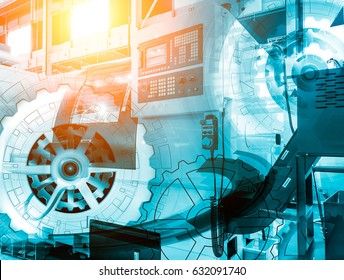machine control panel CNC with with numerical control covered illustration gear wheel, Hi-tech digital technology industry and engineering