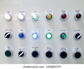 Machine control panel with switch button and indicator lamp
