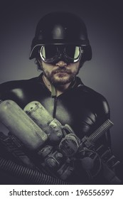 Machine, Future soldier with huge weapon, sci-fi scene