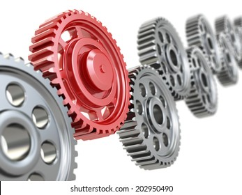 Machine gears on white background. Teamwork concept.. 3d