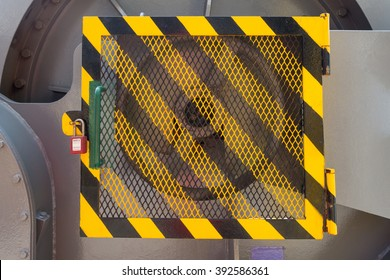 Machine grating guard with pad lock - lockout tag out system