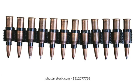 machine gun ammo on a white background, bullet belt, bandoleer, chain of ammo on wooden background,cartridge 7.62 mm caliber, top view, isolated on white background