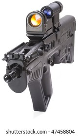 machine gun close up isolated on white background