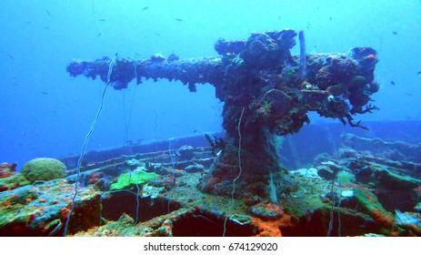 Machine gun on ship sunk during Operation Hailstone in Chuuk Lagoon, Micronesia