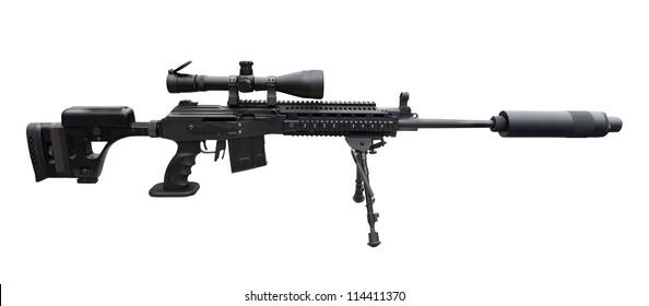Machine gun on the tripod and optical sight