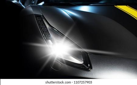 machine industry, sports car headlight close-up