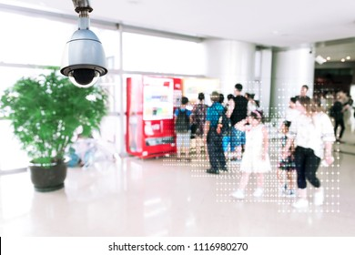 Machine Learning analytics identify person technology , Artificial intelligence concept. Cctv , security camera and Software ui analytics behavior and face recognition people in smart retail store.
