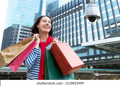 Machine Learning analytics identify person technology , Artificial intelligence concept. Cctv , security camera and biometric technology analytics behavior and face recognition people in smart city.