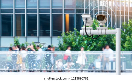 Machine Learning analytics identify person technology , Artificial intelligence ,Big data , iot concept. Cctv , security camera and face recognition people in smart city traffic.