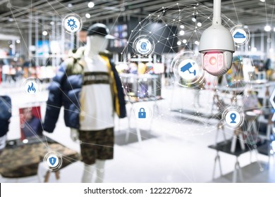 Machine Learning analytics identify person technology , Artificial intelligence ,Big data , iot concept. Cctv , security camera and face recognition people in smart city retail shop.
