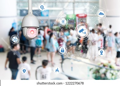 Machine Learning analytics identify person technology , Artificial intelligence ,Big data , iot concept. Cctv , security camera and face recognition people in smart city building.