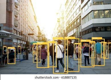 Machine Learning analytics identify person technology , Artificial intelligence concept. Software ui analytics and recognition people in city with flare light effect (blur all human face)