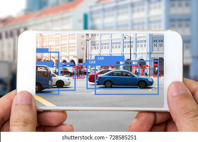 Machine Learning analytics identify person , cars technology , Artificial intelligence concept. Software ui mobile phone analytics and recognition people in city. (blur all human face)