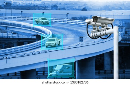 Machine learning analytics identify vehicles technology , Artificial intelligence concept. Software ui analytics and recognition cars vehicles in city. Smart surveillance cameras.