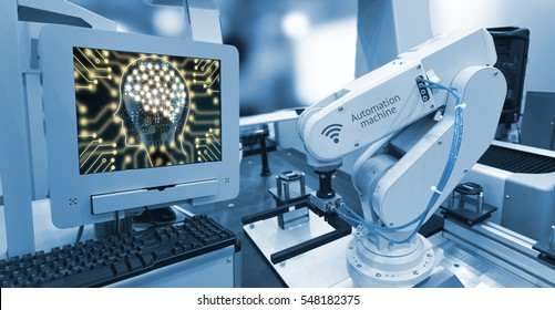 Machine learning and artificial intelligence concept. Computer display illustrative screen and blue tone of automate wireless Robot arm in smart factory background