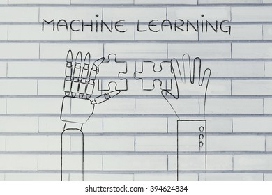 machine learning: human and robot hands solving a puzzle