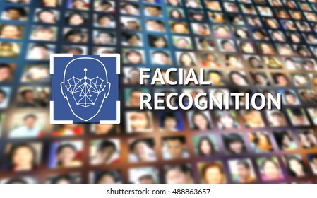 Machine learning systems and accurate facial recognition concept , Face recognition blue social media icon and texts with blur human faces background