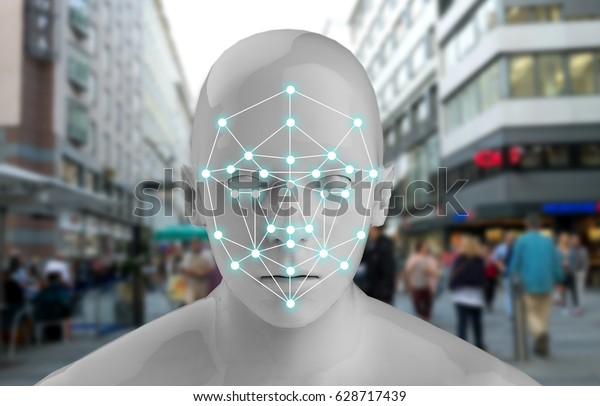 Machine learning systems , accurate facial recognition biometric technology and artificial intelligence concept. 3D Rendering of Man face and dots connect on face with blur city background.