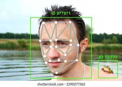 Machine learning systems technology , accurate facial recognition biometric technology and artificial intelligence concept. he face of a young man with a frog on his shoulder and dots connect on face