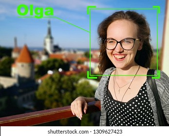 Machine learning systems technology , accurate facial recognition biometric technology and artificial intelligence concept. The face of a young girl.