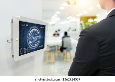 Machine learning systems technology , accurate facial recognition biometric technology and artificial intelligence concept. Worker check in job office with face detection digital signage display.