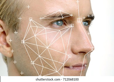 Machine learning systems technology , accurate facial recognition biometric technology and artificial intelligence concept. Man face and dots connect on face.