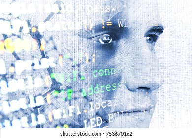 Machine learning systems technology , accurate facial recognition biometric technology and artificial intelligence concept. Double exposure of Human face and programming coded with blue tone image.