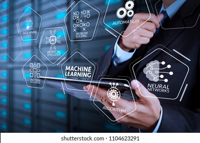 Machine learning technology diagram with artificial intelligence (AI),neural network,automation,data mining in VR screen.businessman hand using tablet computer and server room background