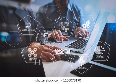 Machine learning technology diagram with artificial intelligence (AI),neural network,automation,data mining in VR screen.Business team meeting. Photo professional investor working.