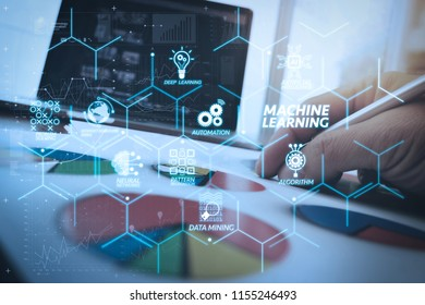 Machine learning technology diagram with artificial intelligence (AI),neural network,automation,data mining in VR screen.business documents on office table with smart phone and digital tablet
