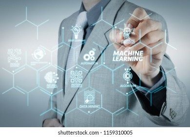 Machine learning technology diagram with artificial intelligence (AI),neural network,automation,data mining in VR screen.businessman hand writing in the whiteboard or virtual screen