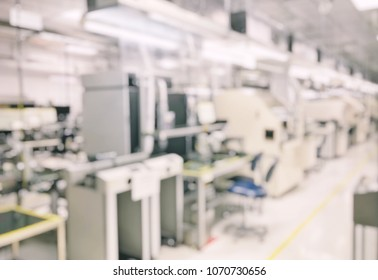 Machine in line products defocused and blur background
