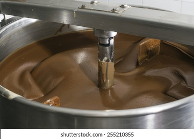 Machine for mixing chocolate. Close up