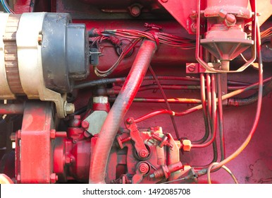 machine part mechanic engine technology red metal motor