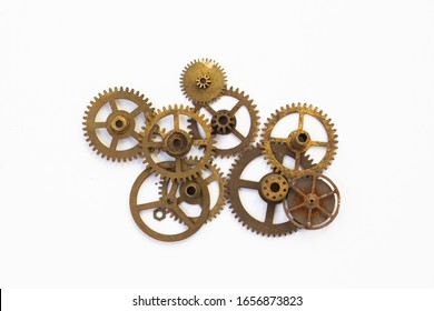 Machine Parts on top of white background