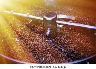 Machine for roasting coffee close up .